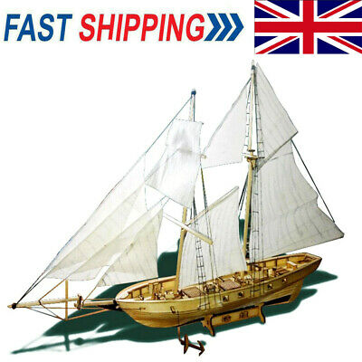 DIY Ship Assembly Model Kits Wooden Sailing Boat Scale Model Decoration Gifts • 10.51£