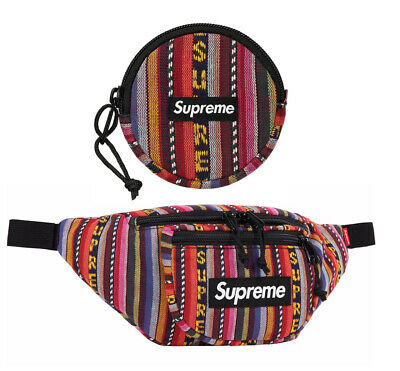 "$ CDN149.82 • Buy Supreme Woven Stripe Waist Bag (1.5L) Coin Pouch (3.2  X 2.4"") Multicolor SS20"