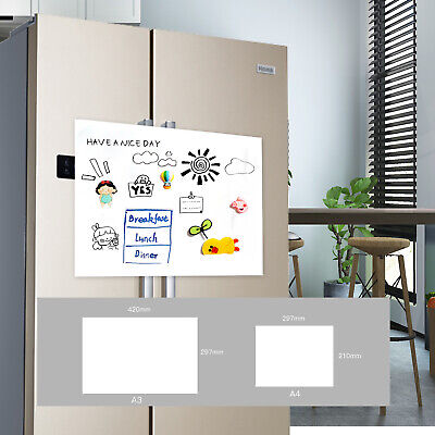 AU11.99 • Buy A3 & A4  Fridge Magnetic Whiteboard Magnet Home Office With 2 Markers & 1 Eraser