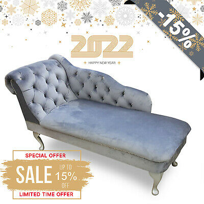 £209.99 • Buy Grey Velvet Tufted Chesterfield Chaise Lounge Sofa Bedroom Accent Chair Bench