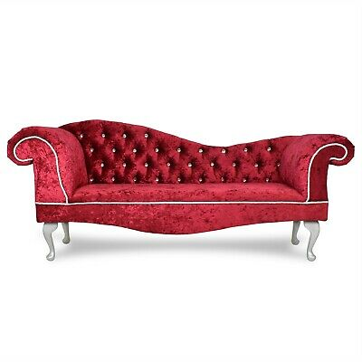 £299.99 • Buy Crushed Red Chesterfield Tufted Chaise Lounge 2 Seater Sofa Accent Bedroom Chair