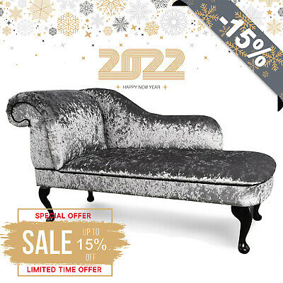 £149.99 • Buy Grey Crushed Velvet Chaise Lounge Sofa Chair Elegant Lounger Bedroom Style Suite