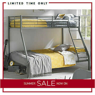 Triple Silver Bunk Bed Children Adult Kids 3 Person Bed Sleeper Mattress Options • 149.99£