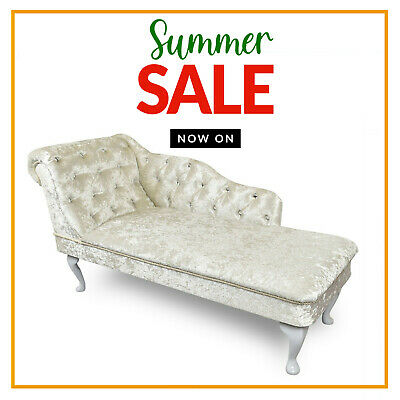 Cream Velvet Chesterfield Tufted Chaise Lounge Sofa Bedroom Accent Chair Bench • 179.99£