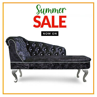 £179.99 • Buy Black Crushed Velvet Buttoned Chesterfield Tufted Chaise Lounge Sofa Acent Chair