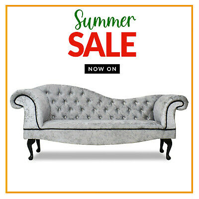 £299.99 • Buy Crushed Silver Chesterfield Tufted Chaise Lounge 2 Seater Sofa Accent Bed Chair