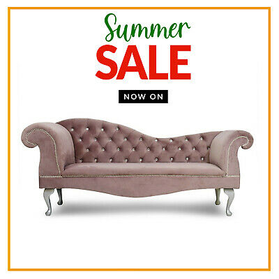 £299.99 • Buy Dusty Pink Velvet Chesterfield Tufted Chaise Lounge 2 Seater Sofa Accent Chair