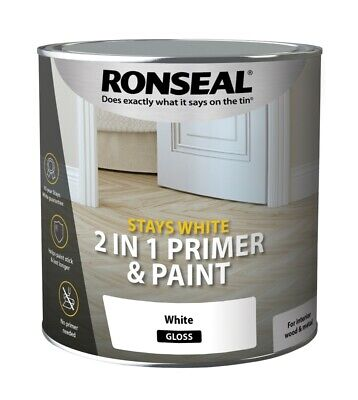 Ronseal Stays White 2in1 Primer And Paint Gloss/Satin/Matt White 750ml Or 2.5ltr • 14.75£