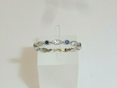 Ladies 925 Sterling Silver Brilliant Cut Blue And White Sapphire Eternity Ring • 20.45£