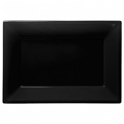 3 Colour Plastic Serving Platters Tray 33cm X 23cm Buffet Black • 2.95£