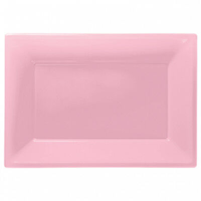 3 Colour Plastic Serving Platters Tray 33cm X 23cm Buffet Baby Pink • 2.95£