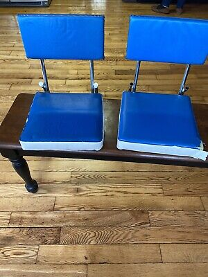 $ CDN20.20 • Buy Vintage Pair Blue Vinyl Silver Metal Folding Stadium Bleacher Seats Sports Boat