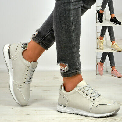 $ CDN14.01 • Buy New Womens Studded Lace Up Running Trainers Sneakers Shoes Size Uk 3-8
