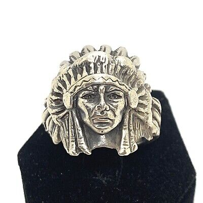 £141.32 • Buy Vintage Sterling Silver Indian Chief Head Heavy Ring . Sz. 9.5.