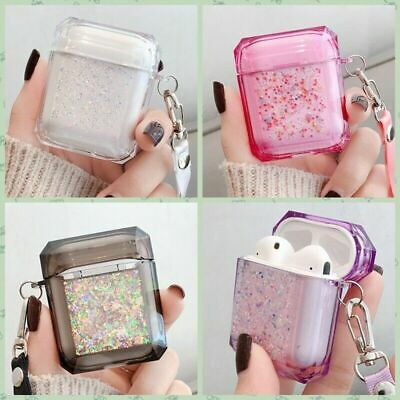 $ CDN6.59 • Buy For Apple AirPods 1/2 Bling Glitter Earphone Case Cover Shiny Headset Bag+Strap