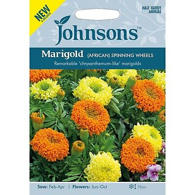 Marigold Seeds 'African Spinning Wheels' By Johnsons Approx 75 Seeds Per Pack • 3.85£