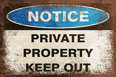 Private Property Warning Keep Out Vintage Look Retro Style Metal Safety Sign • 3.99£