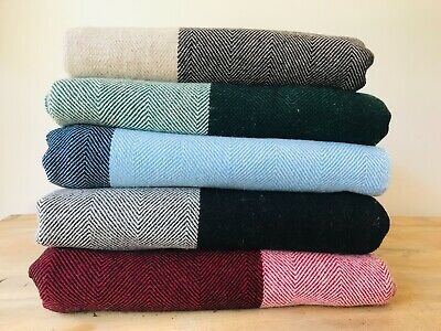 £95 • Buy 100% Handmade Cashmere Throw Blanket, New With Tags, Red Stripes
