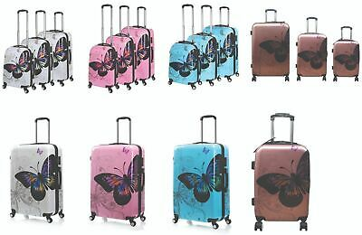Butterfly Pattern Hard Shell 4 Wheel Spinner PC Suitcase Luggage Trolley Case  • 25.99£