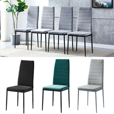 £76.99 • Buy 2/4/6 Dining Chairs Side Chairs High Back Velvet/Faux Leather Padded Seat Home