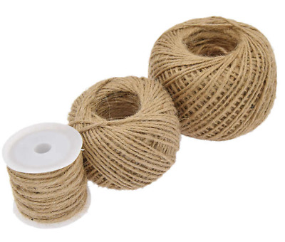 3mm Natural Hessian Twine Twisted Rope Hessian Brown Soft Jute 3 Ply Rustic Cord • 1.49£