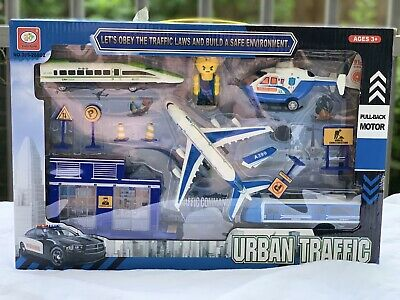 £10.99 • Buy Kids Toys Police Drama Play Set With Airplane Train Helicopter Pull Back Toy Uk