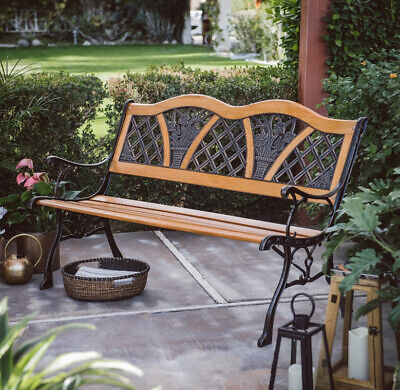 $129.95 • Buy Outdoor Garden Bench Metal Curved Wooden Backyard Patio Park Yard Furniture Seat