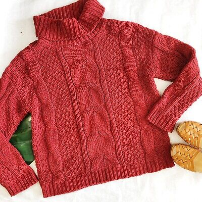 $28 • Buy Just Madison Cable Knit Turtleneck Size XL NWT