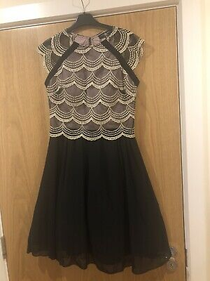 £10 • Buy Ladies Women's Girls Teenager Prom Evening Party Dress Black Gold Size 8 BNWT