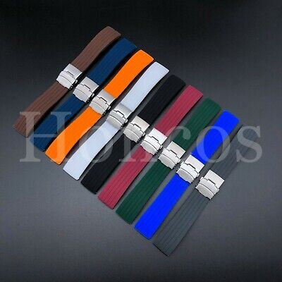 $ CDN14.36 • Buy 18-22 MM Color Silicone Rubber Watch Band Strap Deployment Clasp Fits Rolex