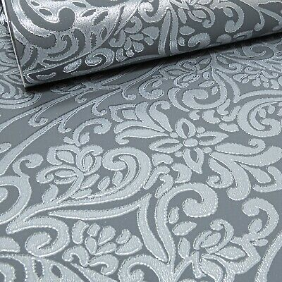 Arthouse Charcoal Grey Silver Foil Damask Shimmer Metallic Feature Wallpaper  • 9.95£