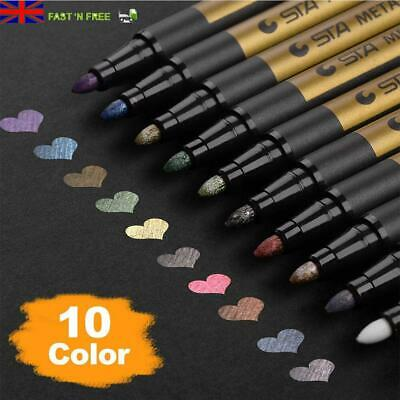 Pack Of 10 Waterproof Metallic Marker Pens Card Making Craft Diary Scrapbooking • 7.95£