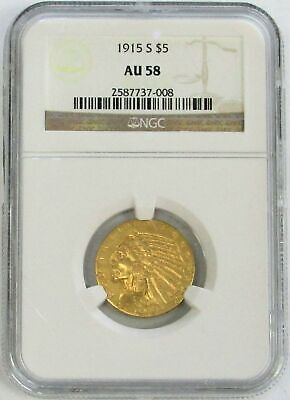 $ CDN2545.05 • Buy 1915 S Gold United States $5 Indian Head Half Eagle Ngc About Unc 58