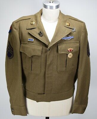 Vintage 1940's Us Army Wool Ike W/ Medals Patch Jacket Mens 40 Wwii Mint! • 219.43£