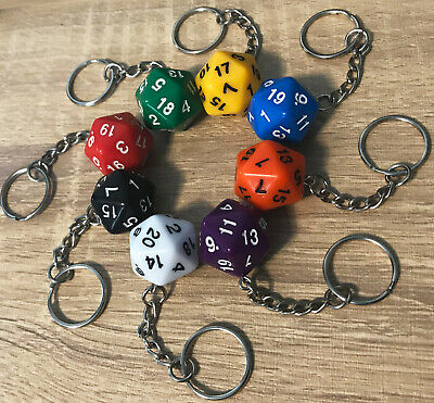£3.45 • Buy D20 Custom Dice Keyring, Die Accessory Dungeons & Dragons D&D Key Ring Colours