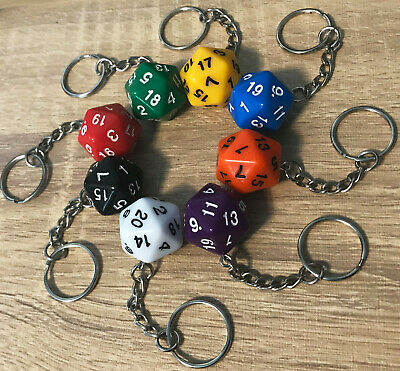 D20 Keyring - 20-sided Dice Accessory, Dungeons & Dragons, D&D Custom Key Ring • 3.15£