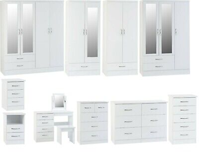 £129.99 • Buy Nevada White High Gloss Bedroom Furniture - Wardrobes, Chest Drawers Or Bedsides