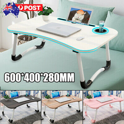 AU28.99 • Buy Foldable Laptop Stand Table Desk Bed Computer Study Adjustable Portable Cup Slot