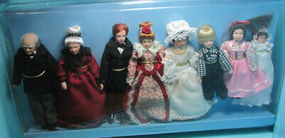 $ CDN88.64 • Buy Dollhouse Miniature Porcelain Victorian Extended Family 8 Dolls G7680