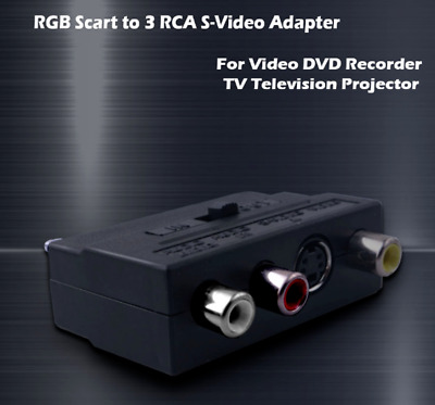 Scart Adaptor Input-output Switch Av To 3 Rca Phono S-video Composite Uk • 2.95£