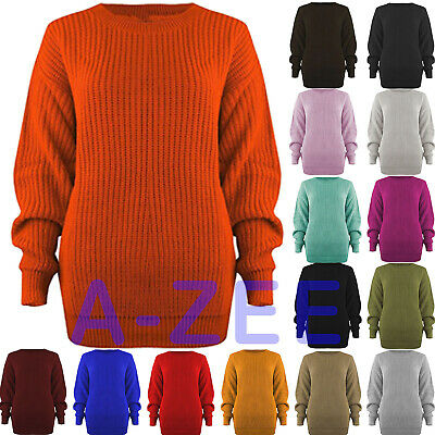 Womens Ladies Casual Basic Cosy Knitted Baggy Jumper Winter Top Plus Size S-3xl • 9.99£