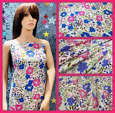 """‼️NEW, Soft Printed  Poly Viscose Floral Print Dress Fabric, 56"""" Wide, • 5.95£"""