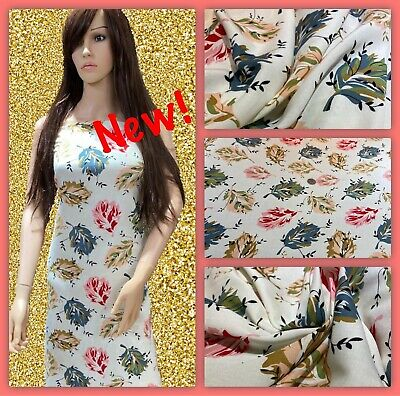 """‼️NEW, Soft  Printed Poly Viscose Floral Print Dress Fabric, 56"""" Wide, • 5.50£"""