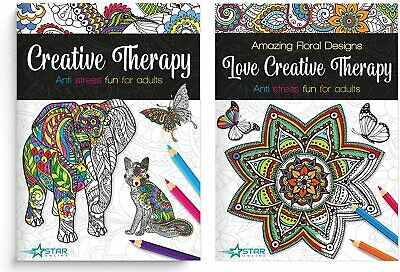 £5.99 • Buy A4 Adult Colouring Books Colour Therapy Patterns Set Of 2 Anti-Stress Books