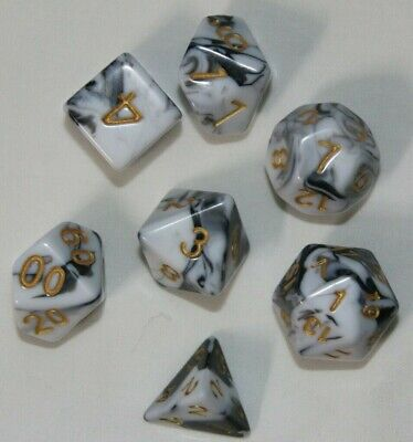 AU10.98 • Buy Dungeons & Dragons Polyhedral Black & White Swirl 7 Piece Pearl Dnd Dice Set RPG