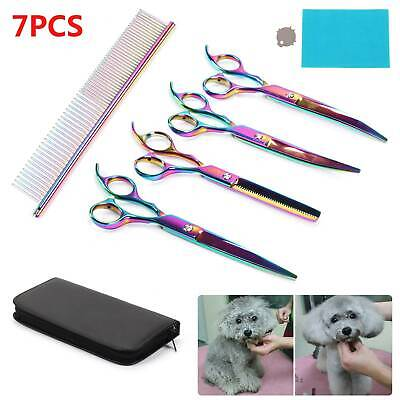 7''Pet Perfect Hair Scissors Set Grooming Cutting Thinning Curved Shear Comb Kit • 14.99£