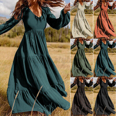 AU19.94 • Buy Women Plus Size V-Neck Puff Sleeve Dress Beach Holiday Long Maxi Dresses Ladies
