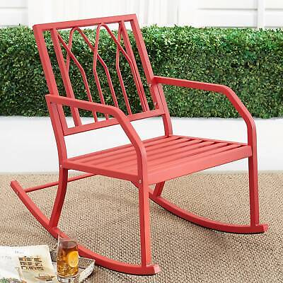 $102.73 • Buy Red Outdoor Metal Rocking Chair Steel Frame Easy Assembly