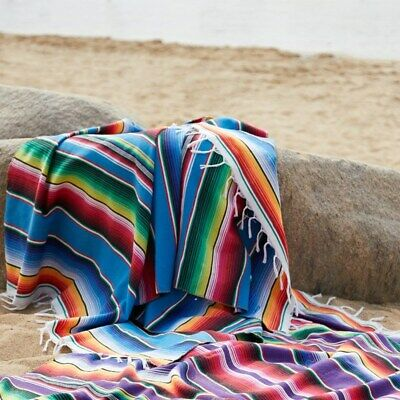 £21.09 • Buy Yoga Picnic Camping Tapestry Shawl Cloak  Mexican Rainbow Blanket Home Rug
