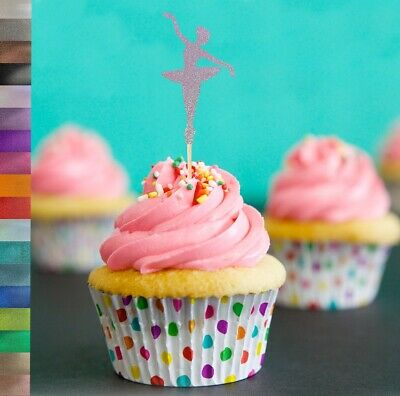 Ballet Dancer Glitter Cupcake Cake Toppers Birthday Party Decoration • 6£